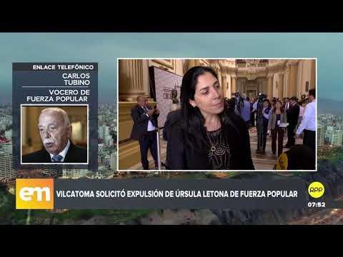 "Tubino: Pedido de Yeni Vilcatoma para expulsar a Úrsula Letona de Fuerza Popular ""es exagerado"""