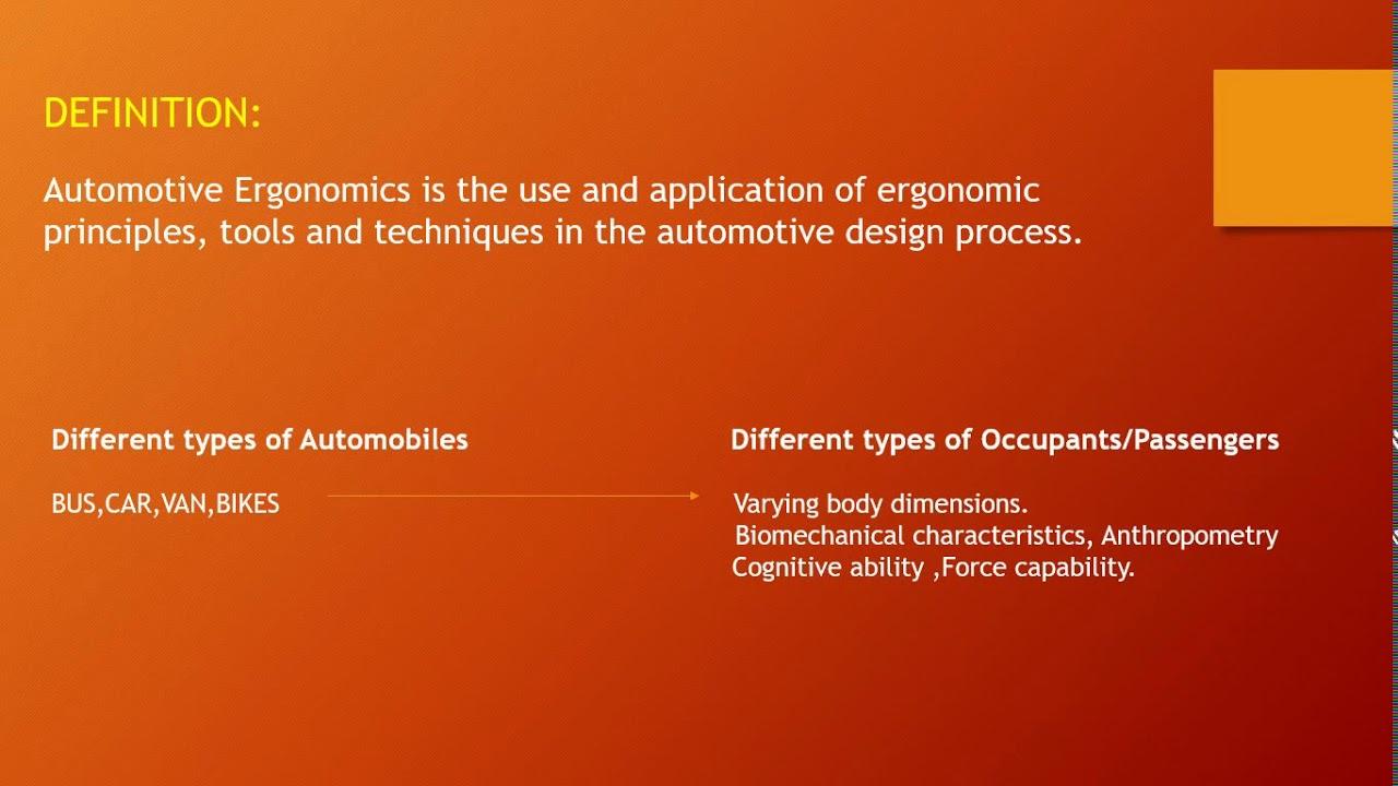 Ergonomics In Automotive Design Introduction Youtube