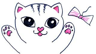 Как нарисовать котенка. Кот играет с бантиком. Рисунок фломастером.