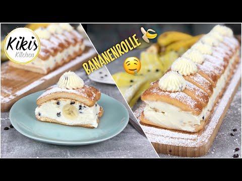 Ohne Backen: die perfekte NO BAKE Bananenrolle aus dem Kühlschrank mit Löffelbiskuits / blitzschnell