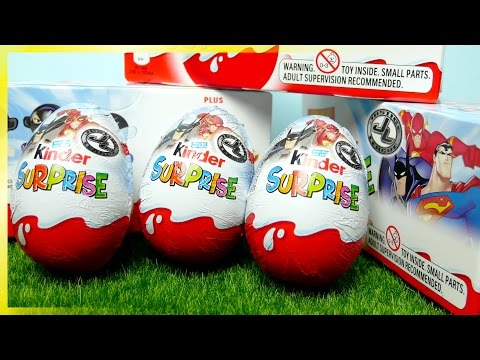 Justice League 10 Kinder Surprise Eggs video opening DC Comics HD