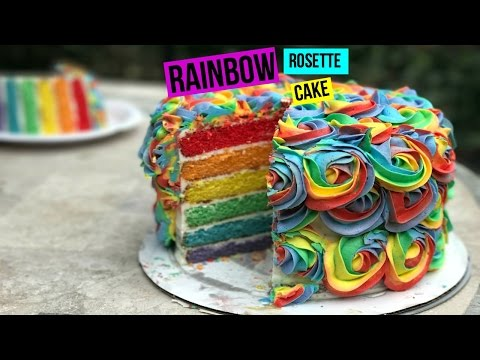 How To Make a RAINBOW ROSETTE CAKE - Episode 29 Baking with Ryan
