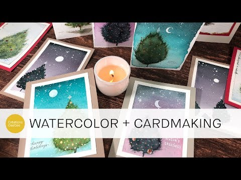 Watercolor: Fluffy Christmas Tree Cards