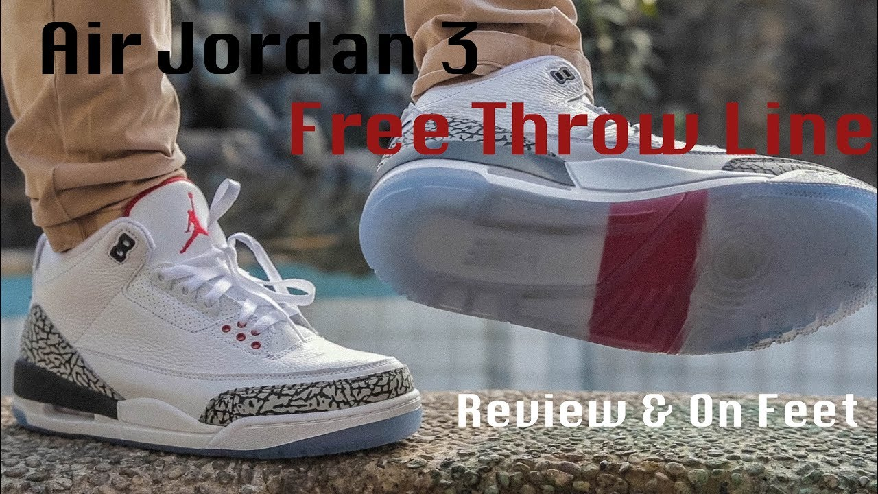 f84393dd76fe Air Jordan 3 Free Throw Line White Cement Review   On Feet - YouTube