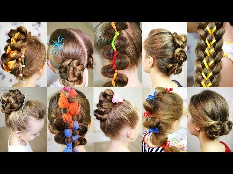 10 cute 5-MINUTES hairstyles for busy morning!  Quick & Easy SUMMER Hairstyles! thumbnail
