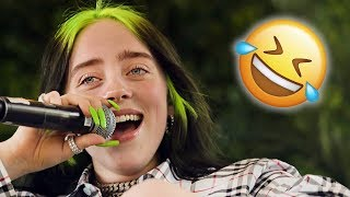 Billie Eilish Hits Herself With Mic In Hilarious Viral Video