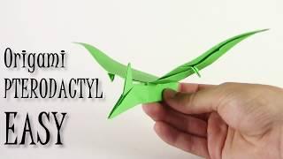 Origami Pterodactyl EASY origami dinosaur - Yakomoga Origami easy tutorial thumbnail