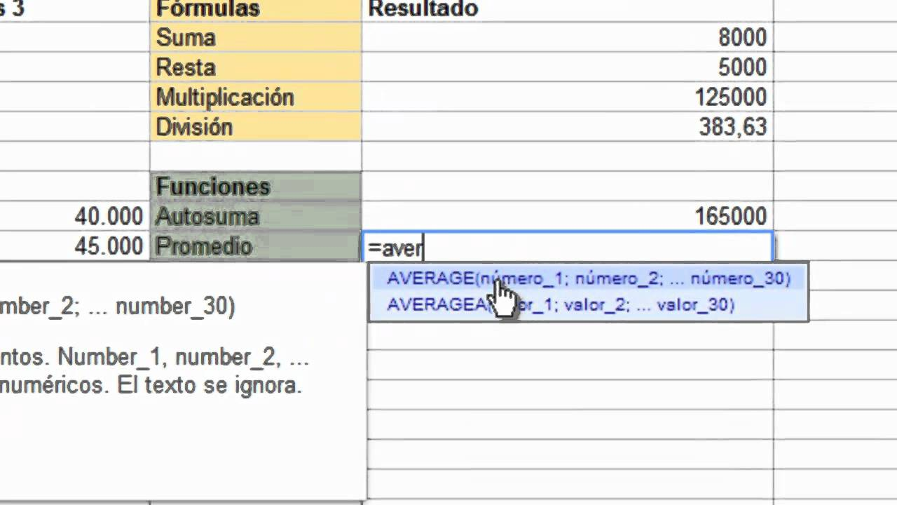 Google Drive -Formulas y Funciones - YouTube