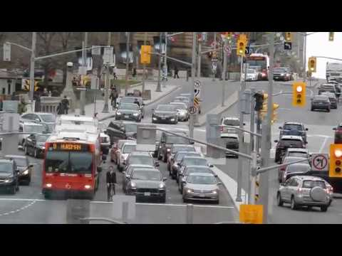 OTTAWA RIDEAU STREET SCENE WITH BUSES CARS PEOPLE