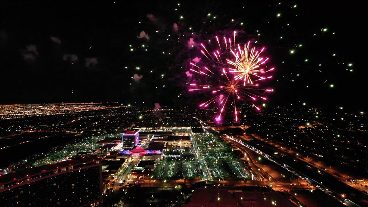 Fourth of July FIREWORKS Show (DRONE footage) at the Las Vegas Red Rock Casino Resort & Spa