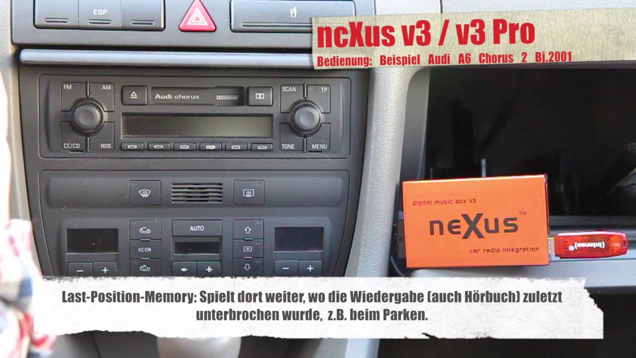 ncXus V3 / V3 Pro Bedienung Audi Chorus II