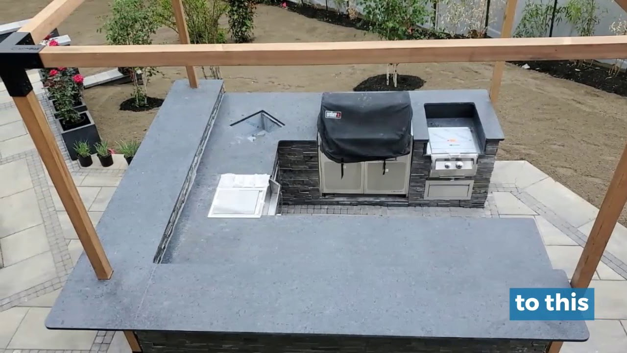 Steel Gray Leather Granite Outdoor Kitchen In Chatham Nj