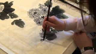 Елена Касьяненко, китайская живопись. Хризантемы