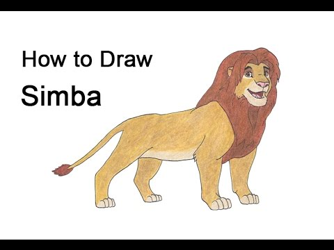 How To Draw Simba Grown Up From The Lion King Youtube
