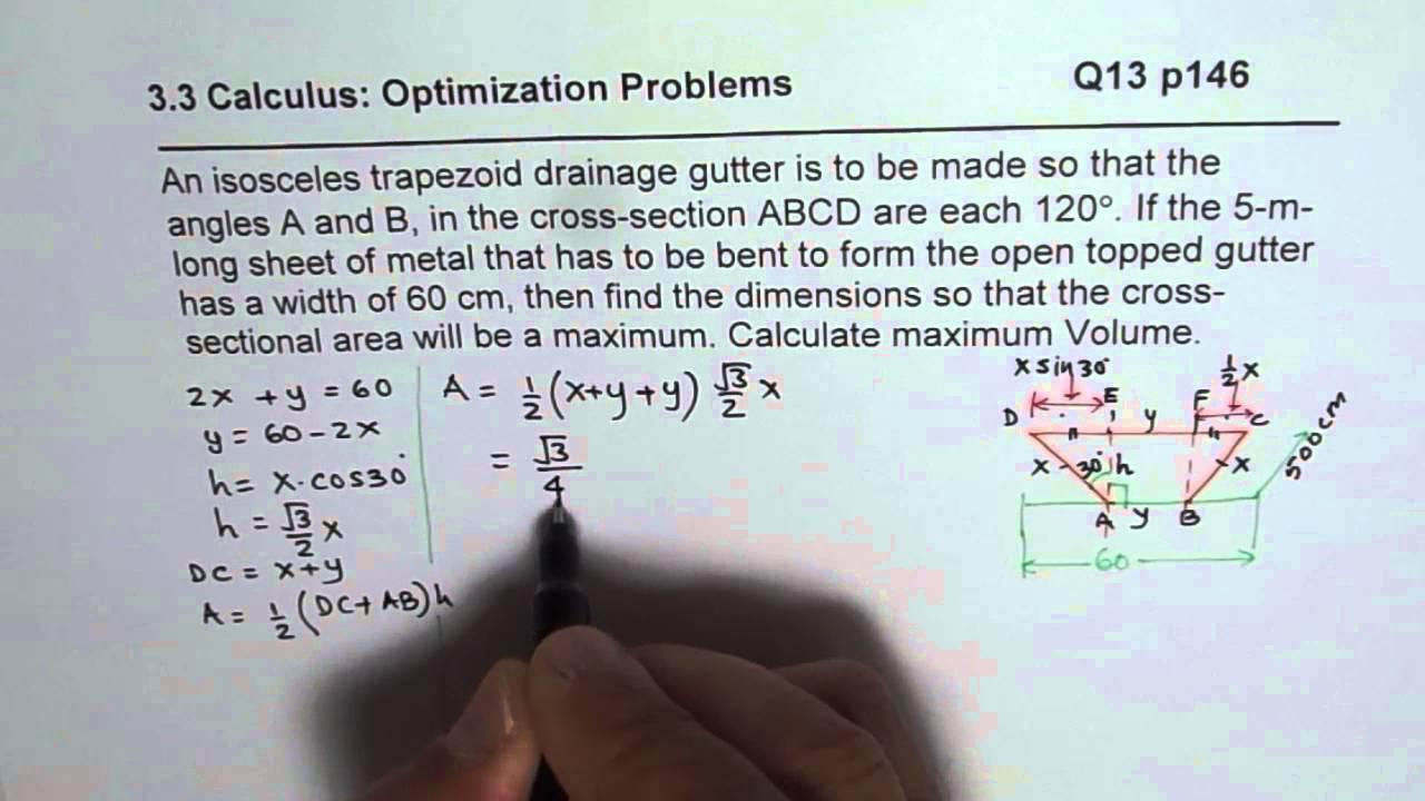 Q13 P 146 Maximum Area For Isosceles Trapezoid Calculus