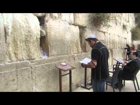Evangelical Christian and a Jew praying at the Western Wall (Wailing Wall), Jerusalem