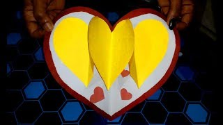 Heart Pop-Up Card with chart paper   Easy Craft Work   Sooraj Vlogs