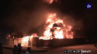 حريق كبير في مستودع بسوق للخضار بإربد (15/2/2020)
