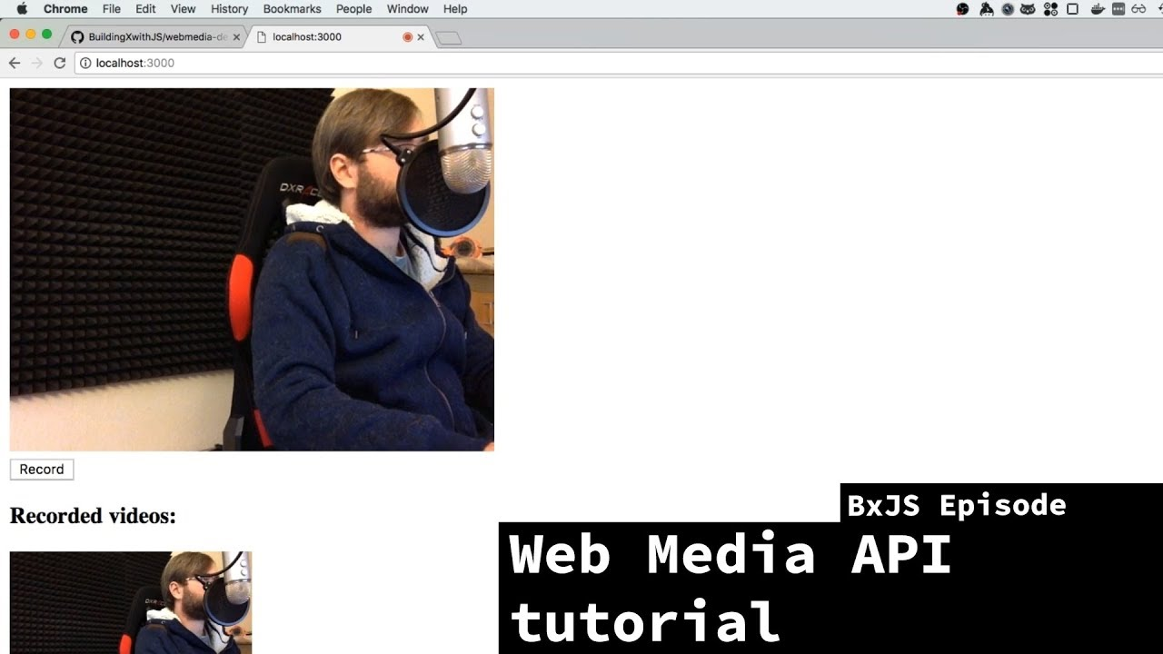BxJS - Recording video & audio in browser using Web Media API