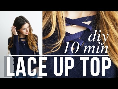 DIY 10 minute no-grommet lace up top