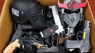 Box Full of Toy Realistic Black Guns - Pubg Lite Helmet & Toy Mask