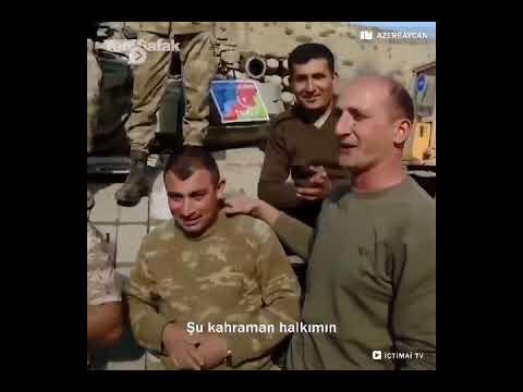 Azerbaycan askerlerinden Ermenistan tankı üzerinde zafer şarkısı: Türk'ün kolu bükülmez!