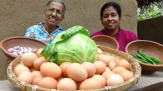Egg and Cabbage Recipe ❤ Special Egg and Cabbage Curry by Grandma and Daughter | Village Life