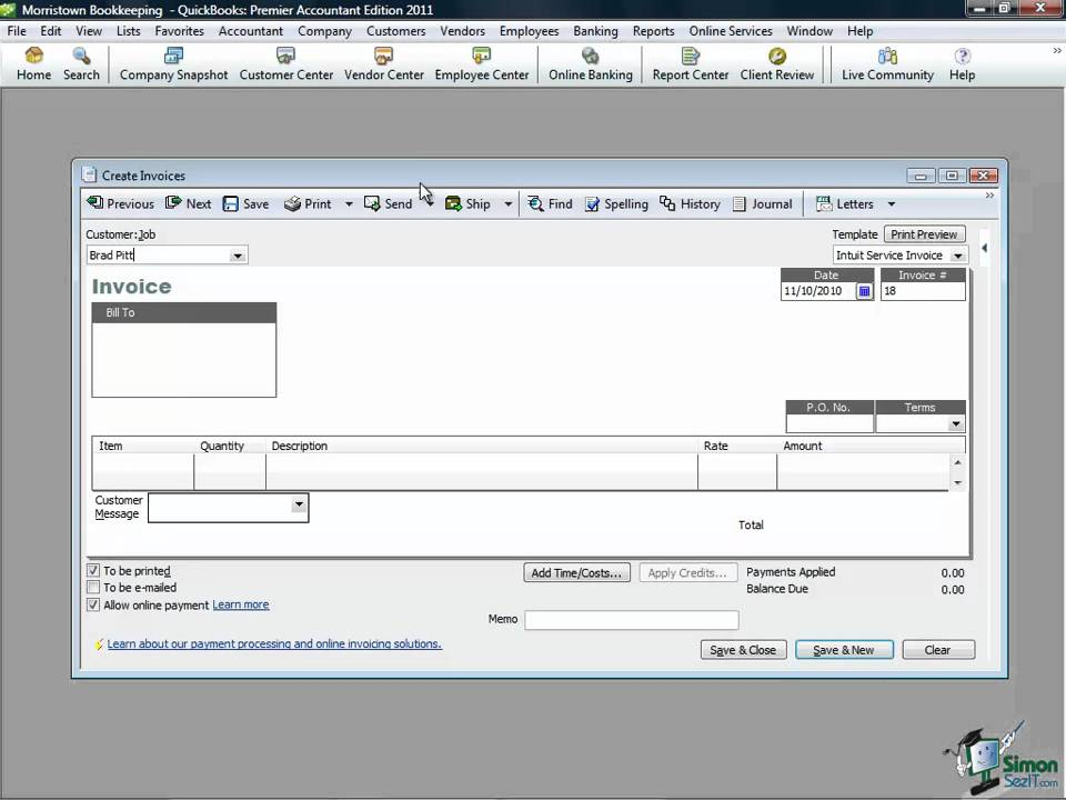 QuickBooks Training Managing Accounts Receivable In QuickBooks Pro - Quickbooks invoice accounts receivable