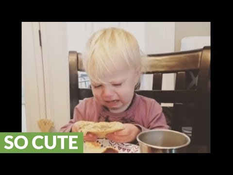 Toddler throws tantrum when butter keeps melting