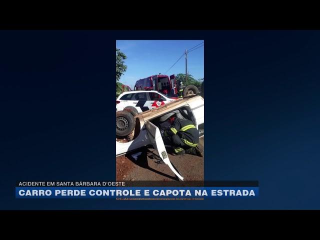Acidente em Santa Bárbara D'oeste: carro perde controle e capota na estrada