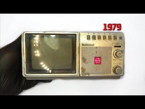 Restoration Mini Japanese TV produced in 1979  Antique television - Restore old Mini TV