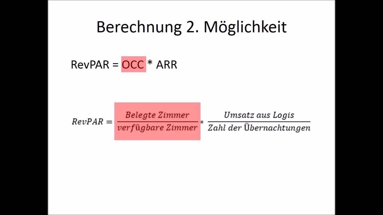 RevPAR Revenue per available room - Berechnung - YouTube