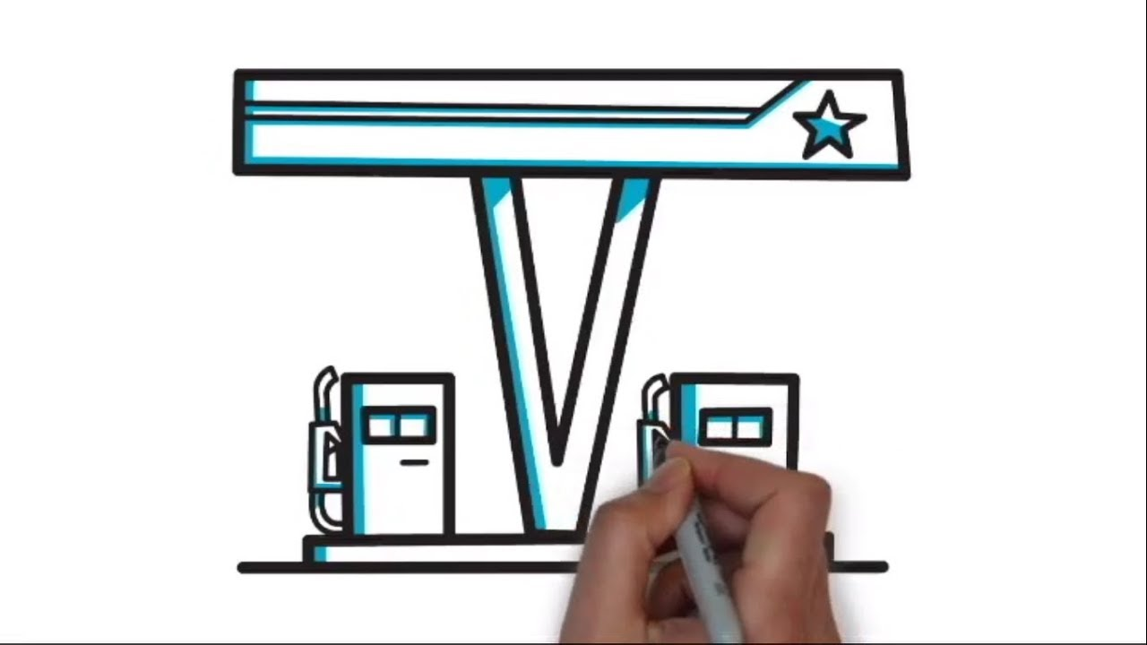 How To Draw A Petrol Pump Step By Step Learn Drawing Youtube