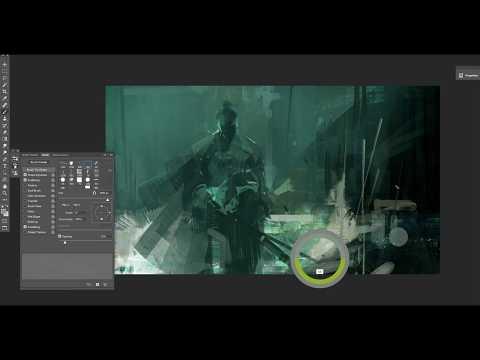 Green Samurai digital painting process
