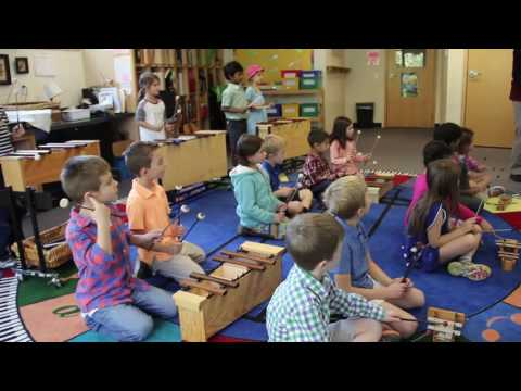 Foote School first graders play Orff Instruments
