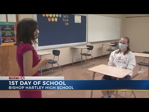 1st day of school for Bishop Hartley High School
