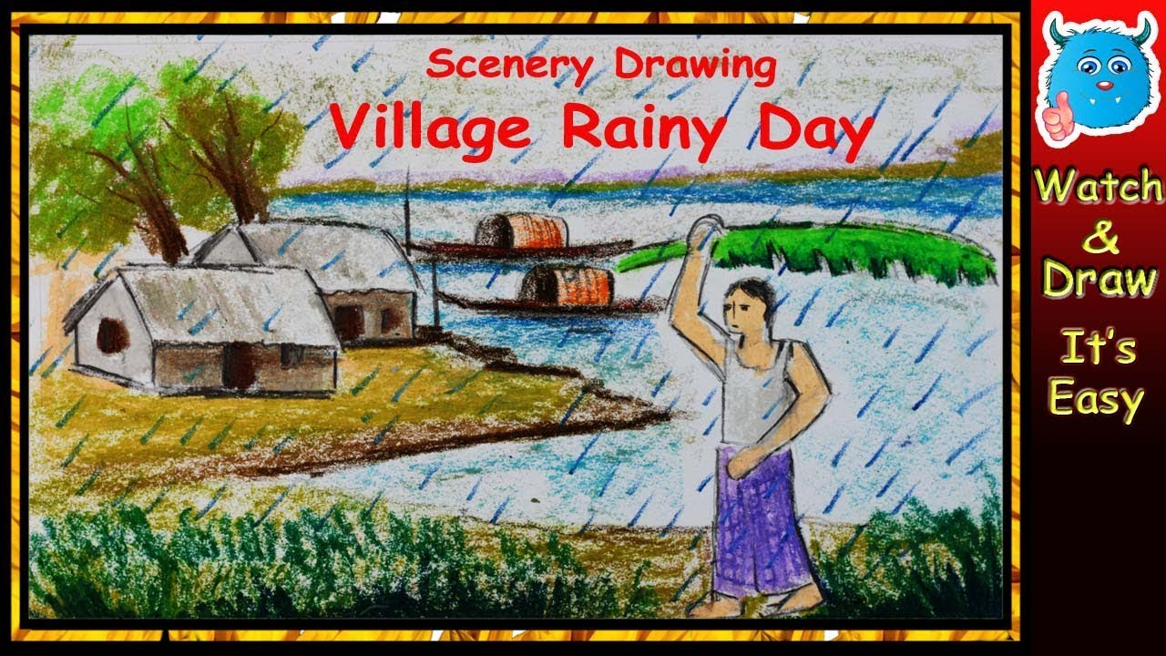How to Draw A Rainy Scenery Step by Step ... Rainy Day Drawing Competition