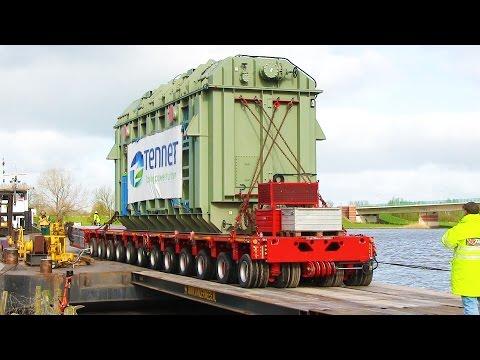 Anlanden eines 260-Tonnen-Trafos