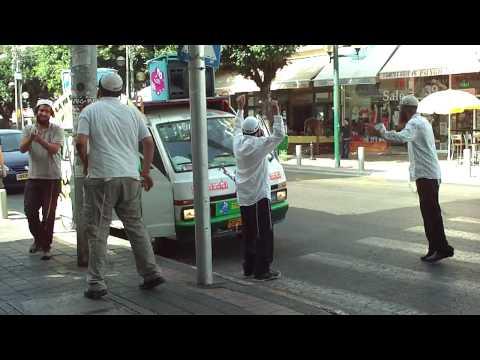 Dancing happy Jews in Tel Aviv