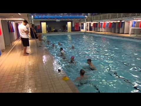Practicing 'Eggbeater Leg Kick' for Water Polo