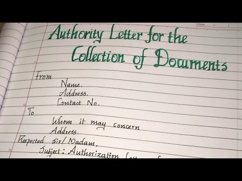 Authorization/Authority Letter For The Collection Of Documents