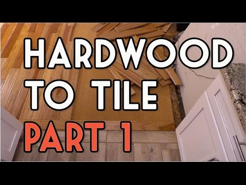 Hardwood To Tile Flooring Transition Diy Part 1 Youtube