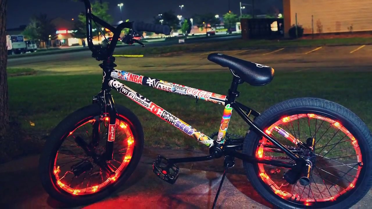 My custom bmx bike sticker bombing