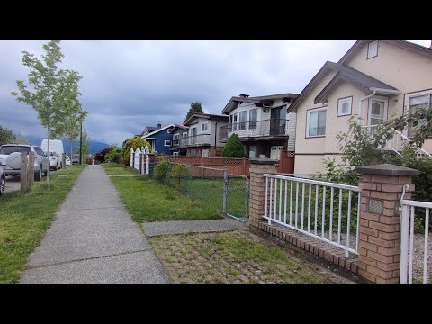 Walking In Vancouver Canada. Renfrew-Collingwood Area. Slocan Street & E25th, E24th Ave. City Life.