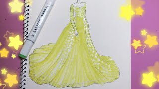 How to draw a wedding dress - Vẽ Váy Cưới - An Pi TV Coloring