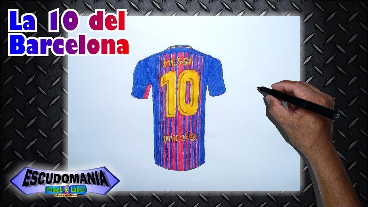 Dibuja y pinta la camiseta 10 del FC Barcelona  Messi - YouTube d80a2cfc9c4