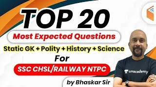 11:00 PM - RRB NTPC & SSC CHSL 2020 | GK by Bhaskar Sir | Top 20 Most Expected GK Questions