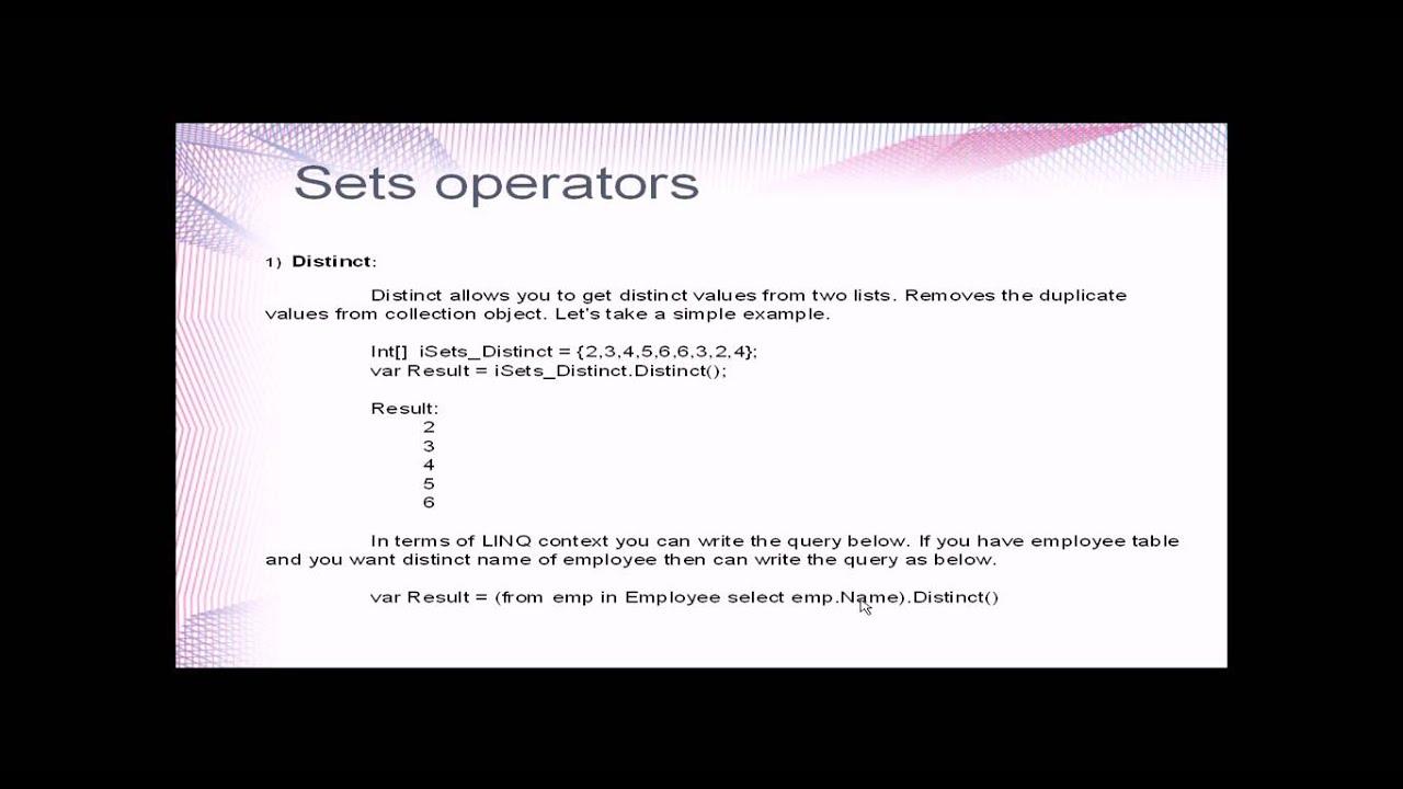 LINQ Operators - Sets Operators - SPEC INDIA