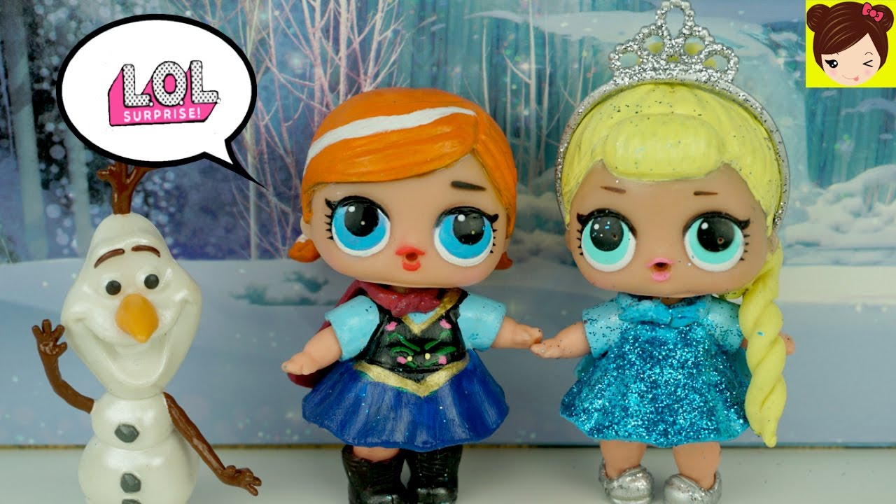 Munecas L O L Sorpresa Pintadas Como Bebe Elsa Y Anna De Frozen Diy