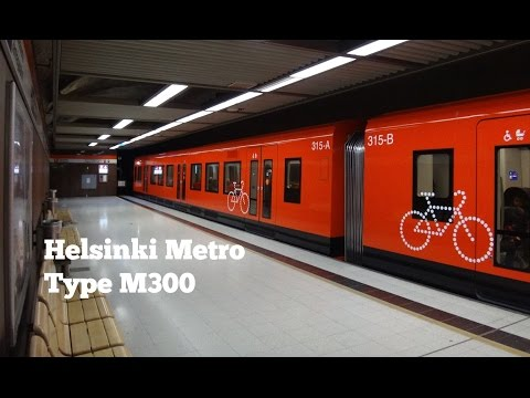 Helsinki Metro: ride on type M300 (set 315) from Hakaniemi to Rautatientori (May 12, 2017)